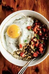 a bowl with breakfast meal