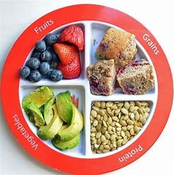 A plate with Fruits, Grain, Protein and Vegetables