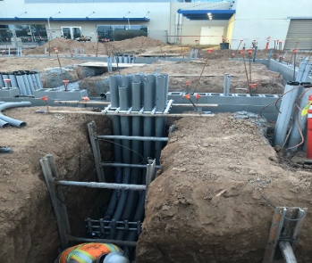 New enclosure footing and underground electrical