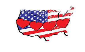 A picture of the United States with hearts to represent Family Fun Month